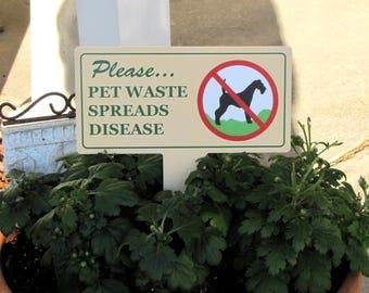 Pet Waste Lawn Signs  | No Dog Poop Stake |  No Poop No Pee Signs | No Dog Pooping Signs | No Poop or Pee Dog Signs | Discreet Lawn Signs