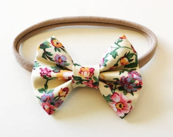 Vintage Floral - Baby/toddler bow headband - bow tie - nylon headband