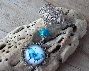 Blue butterfly scarf charm