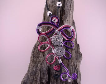 Fancy pink, purple and silver necklace