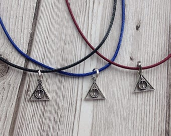 Deathly Hallows charm necklace, Harry Potter jewellery, birthday gift, gift for her, Harry Potter necklace, Harry potter gift, burgandy, red