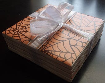 Handmade spider web ceramic tile coasters