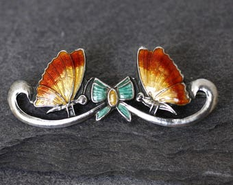 Antique Edwardian Silver and Enamel Butterfly and Bow Brooch