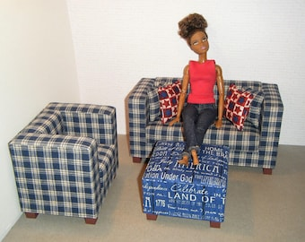 1/6 Scale Furniture Sofa Chair Ottoman - Barbie Momoko, Blythe, Pullip, Fashion Dolls - 1:6 Playscale Living Room Diorama - Patriotic