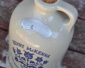 Kentucky Whiskey Jug Vintage, Henry McKenna, Hand Made, Farmhouse, Rustic, Cottage, Cabin, Decor