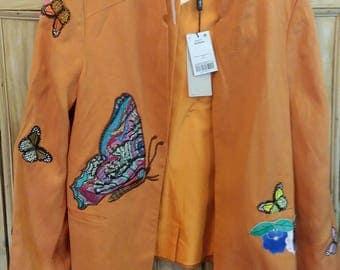 Beautiful burnt orange butterfly embellished jacket - New Upcycled - Ooak - UK 14