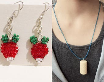 Luna radish earrings and cork necklace - Luna's dirigible plum earrings