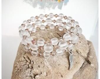 Frosted Quartz Gemstone Bracelet, Memory Wire Quartz Bracelet, Bracelet Stone Bead, Glass Crystals Bracelet, Bracelet Frost Quartz, Her Gift