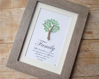 Sea glass family tree art picture / Tree of life / Family tree gift idea / Sea glass tree of life / Beach glass picture / Gift for family