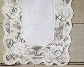 3 11x8 linen and lace rectangular doilies.