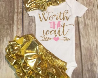 Worth the wait onesie coming home outfit newborn