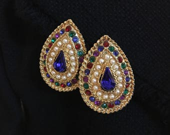 Gold-Tone Crystal Clip-on Earrings