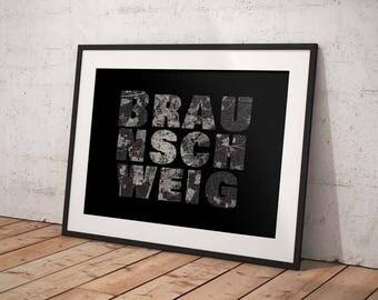 Braunschweig - A4 / A3 print - MapInBlack