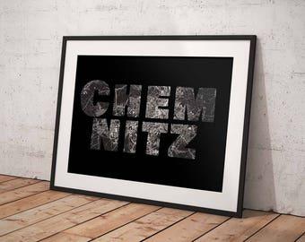 Chemnitz - A4 / A3 print - MapInBlack