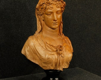 Antique terracotta sculpture bust of a woman signed and dated A. Desenfans 1870