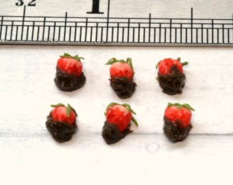 1:12 scale dollhouse miniature chocolate covered strawberries, polymer clay food