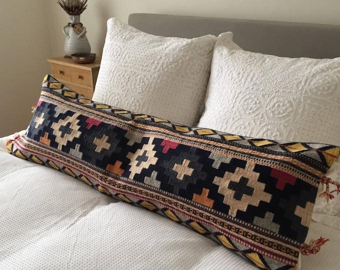 Maricela No.4: Long Pillow featuring Multi-Colour Oaxacan Wool Weaving