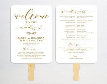 Gold Wedding Program Template, Printable Program, Wedding Fan, DIY Wedding Program, Fan Program, Program Template, Rustic, WPC_1167