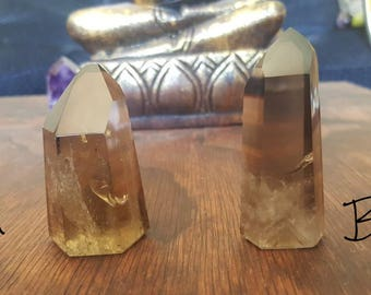 Natural Smoky Citrine Quartz Crystal Point Generators  - Crystals for Grounding, abundance, confidence and prosperity