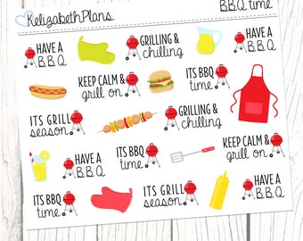 BBQ Time | Summer, BBQ Season, Food, Outdoors, Planner Stickers