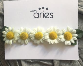 Daisy Faux Flower Crown - Baby headband - summer headband - daisies - flower crown - mommy and me - matching mommy and me - floral crown