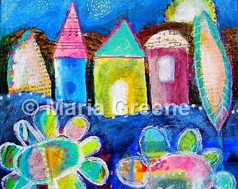 Original painting, mixed media, houses, whimsical art, flowers