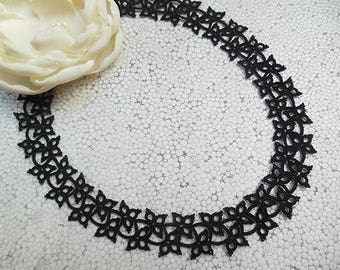 Black tatted necklace, unique necklace, lace necklace, statement necklace, gift for her, black jewelry, tatting lace necklace
