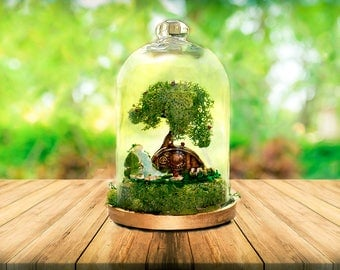 Hobbit House, Terrarium, Moss terrarium, Fairy garden, glass cloche dome, bell jar, Terrarium Kit, Display Jar Terrarium