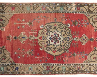 """4'4""""x8'3'' Turkish wool distressed Vintage Rug, Red brown Rug, Decorative kilim Rug, Red  Rugs for living room, Dining Room, Hall  & Kitchen"""