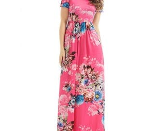 Pink Maxi Dress,Floral maxi dress,maxi dress with pockets