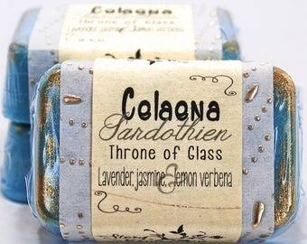 Celaena Sardothien Throne of Glass by Sarah J. Maas Glycerin Soap Bar - Handmade Custom Book Character Scent - Ashryver Eyes, Blue, Gold