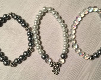 Silver Beaded Bracelet Set with Dangling Heart Charm