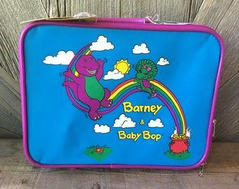 Barney Vintage Suitcase Toy {Large 13 inch kid Suit Case Bag} 1990 Toy Purple Dinosaur Lyons Group Barney Baby Bop Toy Kids Luggage Duffle