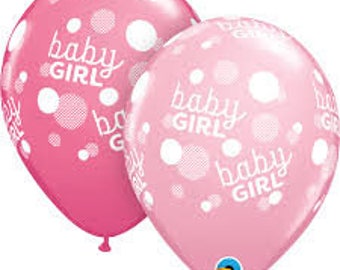 Baby Girl Pink and Rose Balloon set of 5  -Baby Shower/Gender Reveal/ Baby/ Christening /