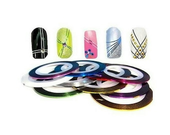 Lot 10 rouleaux stripping nail art, décoration ongle, stickers ongle