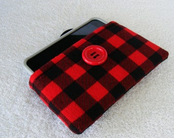 "Red Buffalo Plaid, IPhone Case, IPhone Cover, IPhone 6 Cover, Cell Phone Case, Cell Phone Cover, Cell Phone Sleeve, 6 1/4"" x 3 1/2"""