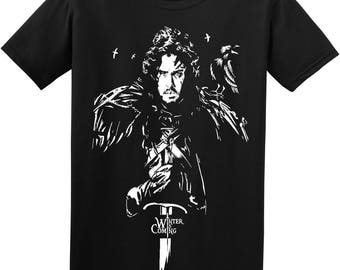 Game of Thrones John Snow Winter is Coming Adult Handmade Vinyl T shirt HBO Clothing
