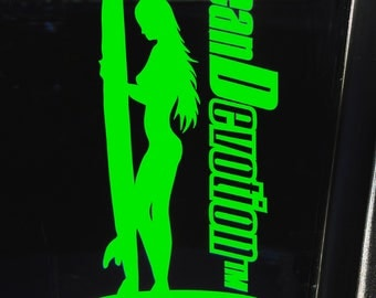 "Surf Girl V3 ""Ocean Devotion"" Vinyl Decal/Sticker - Salt Life, Beach Life, Surfing, Fishing, Water sports, Reel Life, Sea, Car, Boat"