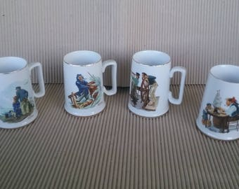 Norman Rockwell Mugs Cups Ship Of Four Sets