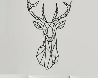 Sticker mural Cerf géométrique autocollant DIY