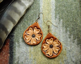 Floral Tooled Earrings - Style 1