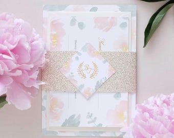 Peony and Eucalyptus wedding invitation package with gold glitter bellyband, elegant wedding invitation, peonies wedding