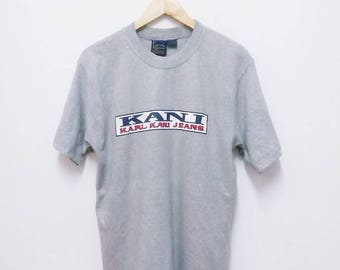 Hot Sale!!! Rare Vintage 90s KARL KANI JEANS Big Logo Spell Out T-Shirt Hip Hop Skate Swag Medium Size