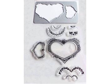 Clear stamp + dies pattern frame heart