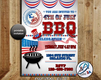 4th of July Invitation, Fourth of July invite, Independence Day Invitation, PRINTABLE 4th of July