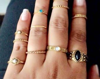 Boho style stacking rings