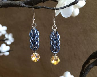 Persian Chainmaille & Swarovski Crystal Earrings Gry