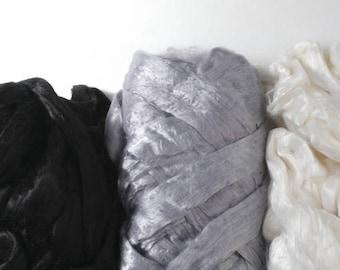 2 oz Viscose Fiber Extra Fine Nuno Wet Felting Supply Spinning Fiber Roving tops paper making textile art supplies bamboo silk alternative
