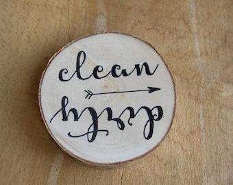 Clean Dirty Dishwasher Sign, Dishwasher Magnet, Dishwasher Sign, Clean Dirty Magnets, Rustic Wood Magnet, Kitchen Decor, Reversible Sign