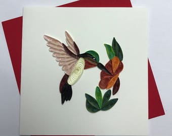 Hummingbird Quilling Greeting Card, Quilling Card, quilled Cards, Hummingbird card